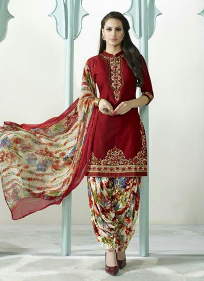 Red color embroidered patiala casual wear salwar kameez
