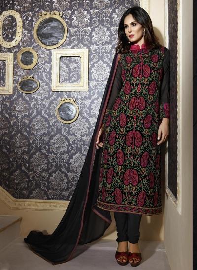 Black colour georgette party wear straight cut salwar kameez
