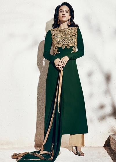 Bottle green color georgette party wear straight cut salwar kameez