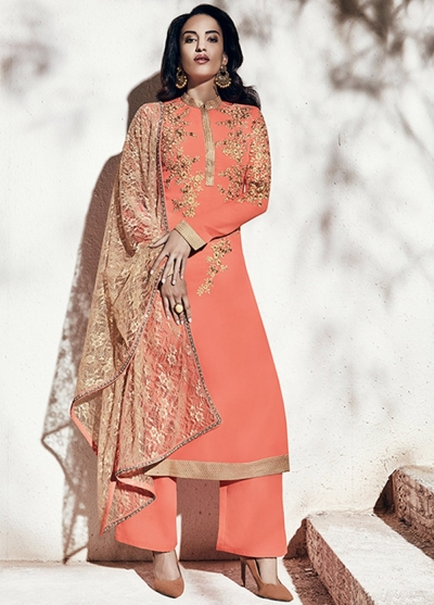 Peach and gold color georgette party wear straight cut salwar kameez