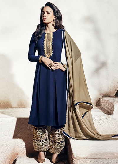 Dark blue color georgette party wear straight cut salwar kameez