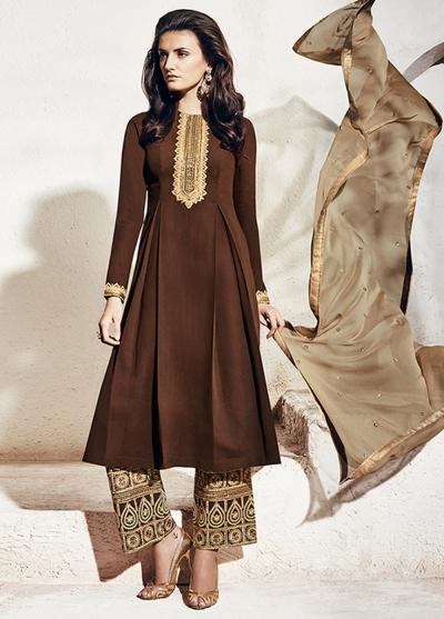 Brown color georgette party wear straight cut salwar kameez