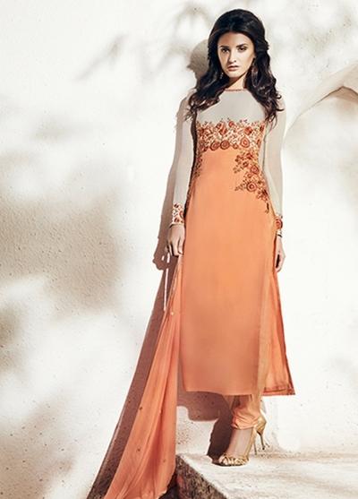 Orange color georgette party wear straight cut salwar kameez
