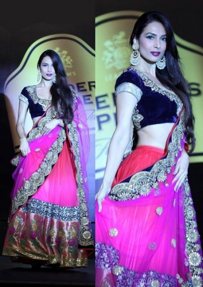 Malaika arora khan pink and blue lehenga