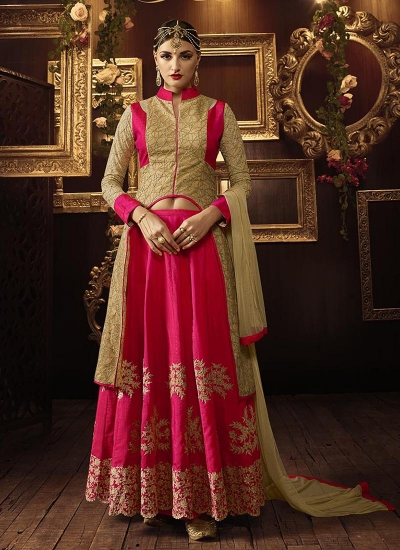 Beige and dark pink color net and mellisa silk party wear lehenga choli