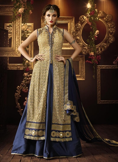 Cream and dark blue color netted party wear lehenga