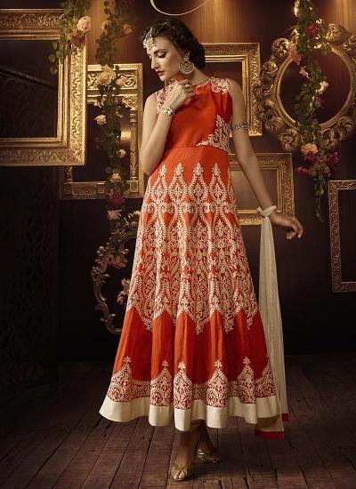 Orange color tafeeta silk party wear anarkali suit