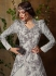 Grey color jacquard and net party wear anarkali and lehenga 2-in-1 style suit