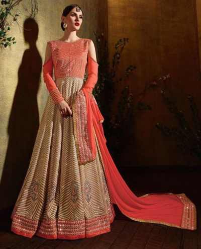 Beige and orange color  shaded georgette party wear anarkali suit