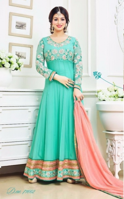 Ayesha takia Eid Special sea green Anarkali Suit