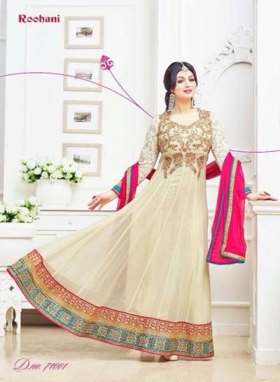 Ayesha takia Eid Special cream Anarkali Suit