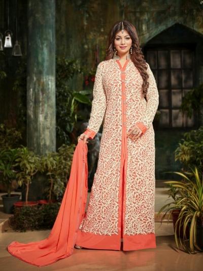 Ayesha takia Eid Special Hand work Peach Anarkali Suit