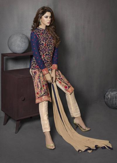 Blue and beige color georgette and jacquard party wear salwar kameez