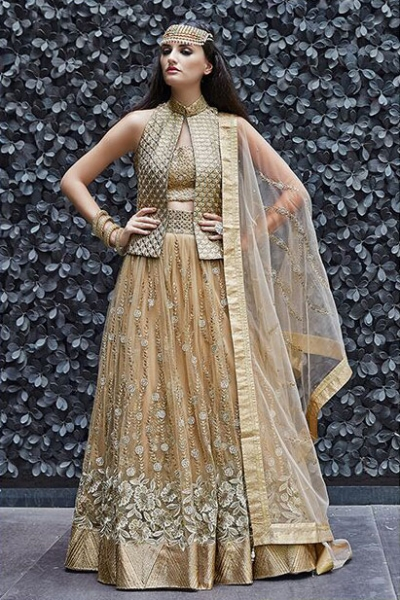 Beige and gold color georgette and net wedding wear lehenga choli 2-in-1 style