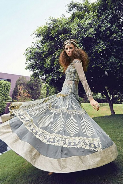 Grey color georgette and net party wear anarkali suit 2-in-1style