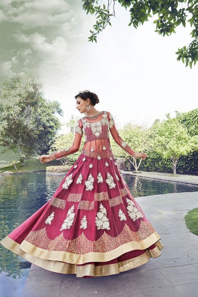 Maroon color georgette and net  party wear anarkali suit 2-in-1 style