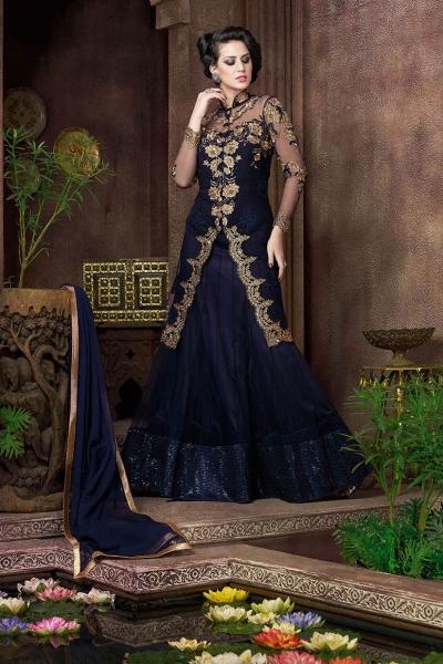 Navy blue color net jacket style party wear lehenga choli