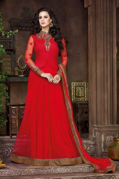 Desirable red color georgette and net party wear anarkali suit
