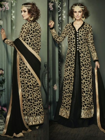 Black color net and banglori silk party wear anarkali suit