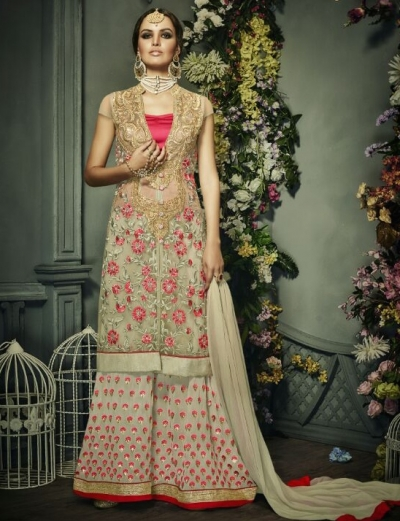 Beige color georgette and net palazzo style party wear anarkali suit