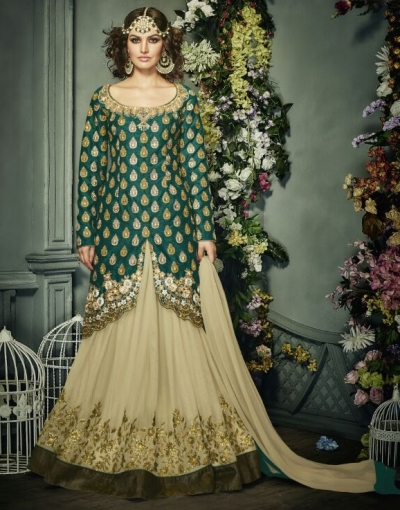 Green color banglori silk party wear lehenga style anarkali suit