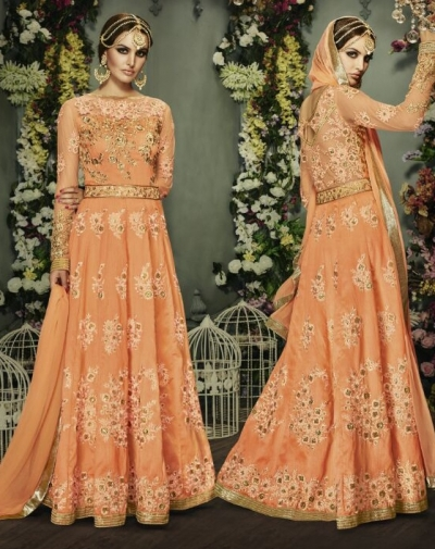 Peach color banglori silk party wear anarkali suit