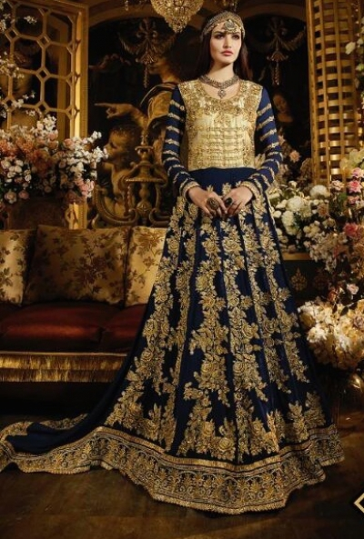 Navy blue color georgette with net trail pattern party wear anarkali suit