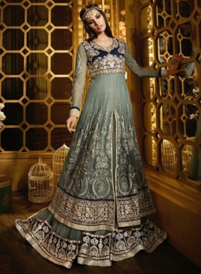 Grey and blue color net with bagulpuri silk heavy flare party wear anarkali suit
