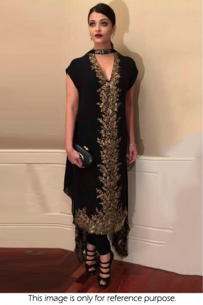Bollywood style Aishwarya Rai black color georgette anarkali