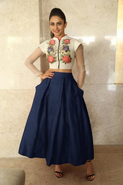 Bollywood Style Rakul Preet singh white and navy blue color bangalori silk lehenga choli