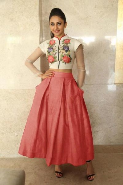 Bollywood Style Rakul Preet singh white and peach color bangalori silk lehenga choli