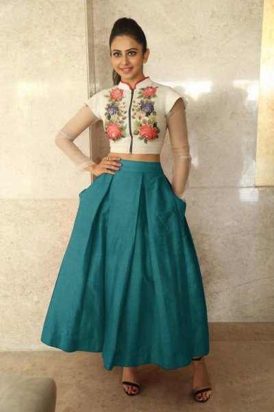 Bollywood Style Rakul Preet singh white and teal green color bangalori silk lehenga choli