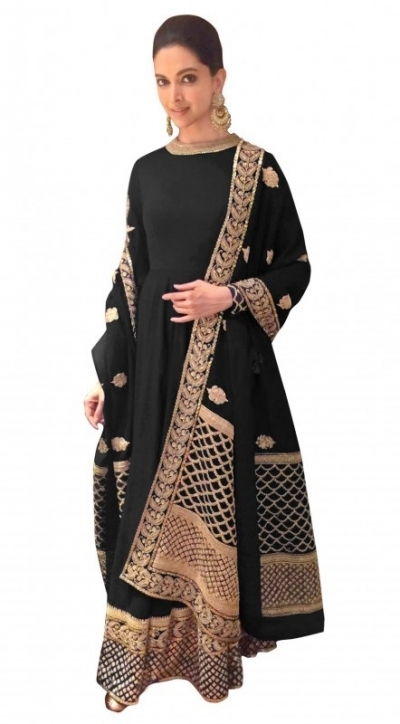 Bollywood Style Deepika padukone black georgette anarkali suit
