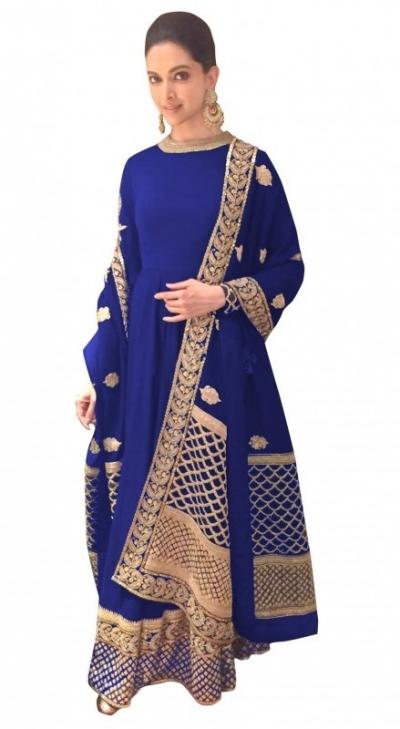 Bollywood Style Deepika padukone blue georgette anarkali suit