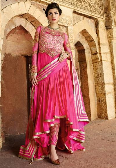 Amazing Pink color georgette wedding wear anarkali suit