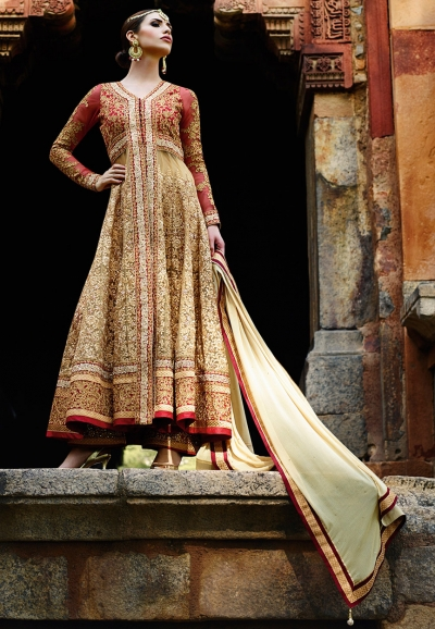 Beige and red color net wedding wear anarkali suit