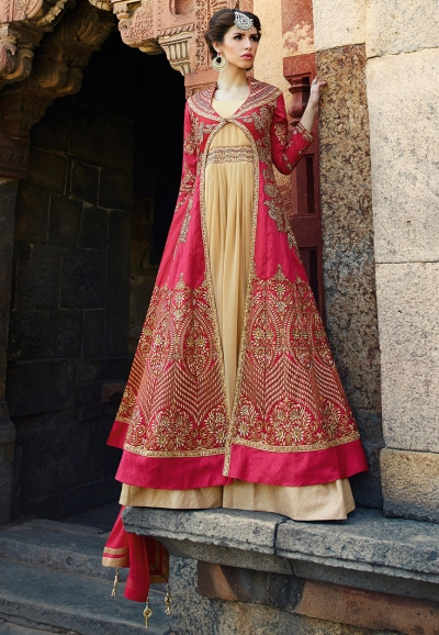 Pink and beige color art silk wedding wear anarkali suit