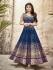 Mouni Roy blue color faux georgette wedding wear anarkali suit