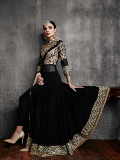 Black color faux georgette wedding wear anarkali suit