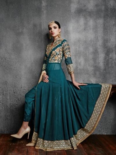 0d661397fc Buy Teal green color faux georgette wedding wear anarkali salwar ...