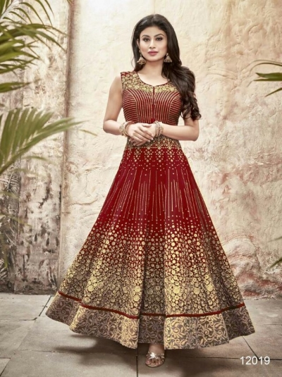 Mouni Roy maroon color faux georgette wedding wear anarkali suit
