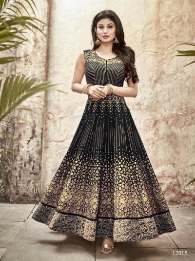 Mouni Roy black color faux georgette wedding wear anarkali suit