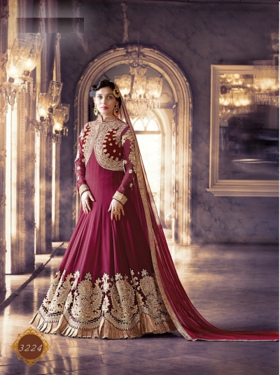 Maroon color pure georgette wedding wear anarkali suit