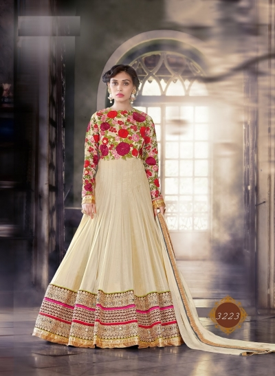 Cream color pure georgette wedding wear anarkali suit