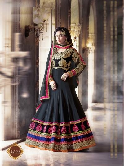 Black color pure georgette wedding wear anarkali suit