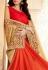 Orange and beige satin faux georgette wedding wear saree