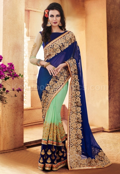 Blue and green colour chiffon and georgette wedding wear saree