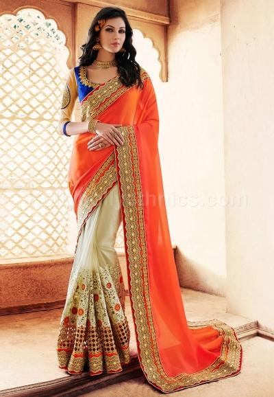 Orange and beige colour satin georgette and net wedding wear saree