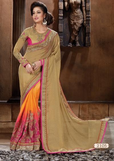 Beige and Pink Art silk Designer Saree