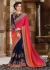 Pink orange and Blue Faux Georgette Designer Saree